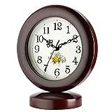Reloj De Mesa Clásico, Reloj De Escritorio Redondo De Estilo Rural Simple Tiempo Preciso Y Silencioso Reloj De Chimenea De Cuarzo Con Pilas Adornos De Decoración De Escritorio (Color: Deep Color)