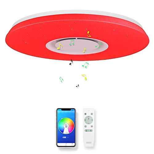 CHYSONGOODS 40CM 36W Circolare Plafoniera LED,Lampada Da Soffitto Con Altoparlante Bluetooth App Telecomando Regolabile Cambia Colore,Illuminazione Interni (1 Altoparlante 40CM 36W Circolare)
