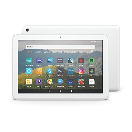 Fire HD 8 Tablet, 8' HD display, 32 GB, White - with Ads, designed for portable entertainment