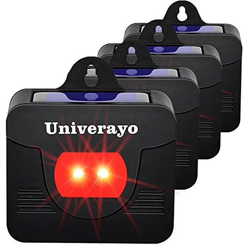 Univerayo 4 Pack Coyote Deterrent Deer Repellent Solar Predator Control Lights Animal Repeller Device Raccoon Deterrent Fox Skunk Deer Repellent for Garden - Upgraded Version