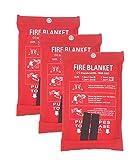 1,2 x 1,2 m Coperta antincendio, coperta di emergenza ignifuga, coperta ignifuga, copertura di sicurezza per cucina, camino, auto, ufficio, magazzino, confezione da 3