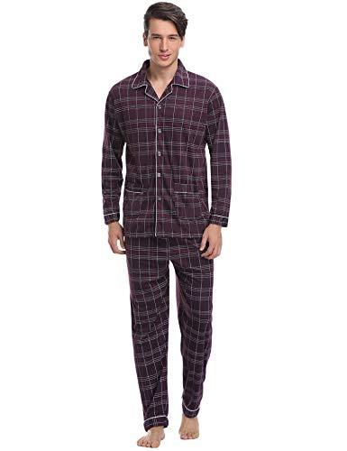 Aibrou Herren Baumwolle Pyjama Set, Einfarbiger Zweiteiliger Schlafanzug Langarm Shirt und Pyjamahose (S, 85{d1c31f0211fdc13c39d8c8b51b4450f3ad8355498941d6033dbdcc9110a46608} Baumwolle: Rot)