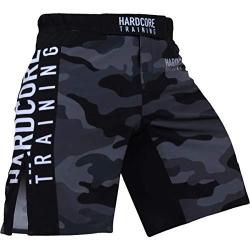 Hardcore Training Night Camo 2.0 Black/Grey Fight Shorts Kurze Hose Herren MMA BJJ Grappling Fitness Boxen Muay Thai No Gi