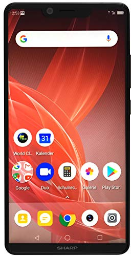 Sharp Aquos D10 Smartphone, Full HD+ Display, 14, 9 cm (5.99 Zoll),64 GB interner Speicher, 4 GB RAM,Dual SIM,Android 8.0, 2900mAh,12+13 MP Hauptkamera,Gesichtsentsperrung, Fingerabdrucksensor–Schwarz