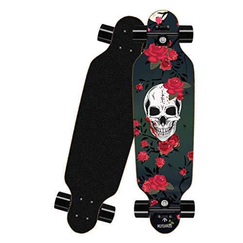 Mini Caster Board 4-Rad Longboard Skateboard, 8-lagiges Ahorn kann bis zu 150 kg tragen, geeignet for Anfänger, Jugendliche, Studenten, Jungen, Mädchen Drop-Through-Freeride-Skating-Cruiser-Boards
