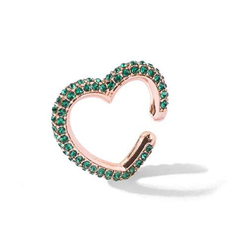 LLD Multi-Hoop Rhinestone Ear Cuff Corazones románticos Boho Clips de Oreja en la Oreja Crystal Love Heart Earcuffs Pendientes para Mujeres Colorido, Oro Rosa
