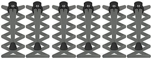 Lacets élastiques plats avec fermoir de blocage par 55 Sport® , femme Homme Enfant, Grey (3 Pack), taille unique