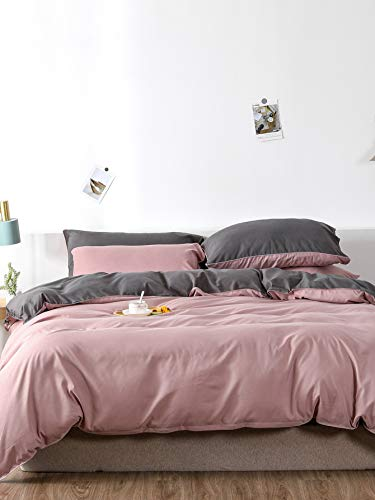 Chanyuan Bed Linen 220 x 240 cm Pink Dusky Pink Grey Anthracite Microfibre Reversible Bed Linen Set Plain Double Duvet Cover with Zip and 2 Pillowcases 80 x 80 cm
