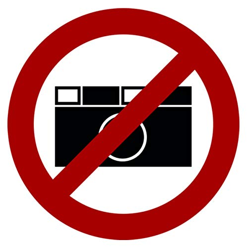 10 pegatinas de prohibición para fotografía, signos de prohibición con protección UV, señales de advertencia para exteriores, interiores, fotos de Strobo 9,5 x 9,5 cm