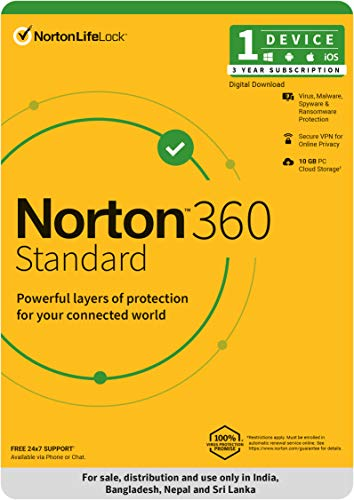 Norton 360 Standard – 1 User 3 Years  Includes Secure VPN & Firewall  Total Security for PC, Mac, Android or iOS  Code emailed in 2 hrs.