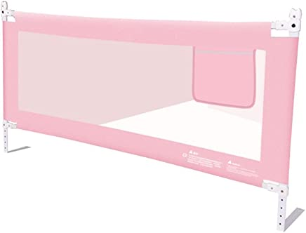 BAIF Bed Railing Vertical Lifting Space Saving Seamless Sewing Metal Skeleton Stable Breathable Mesh For Kids  Colors  Sizes  Color  Pink  Size  200x68-80cm