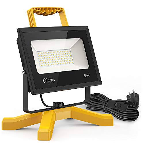 Olafus 60W 6000LM LED Baustrahler, IP66 Wasserdicht LED Arbeitsleuchte Bauscheinwerfer mit Schalter, 5000K Tageslichtweiß Arbeitsscheinwerfer Strahler Fluter für Werkstatt, Baustelle, Garage