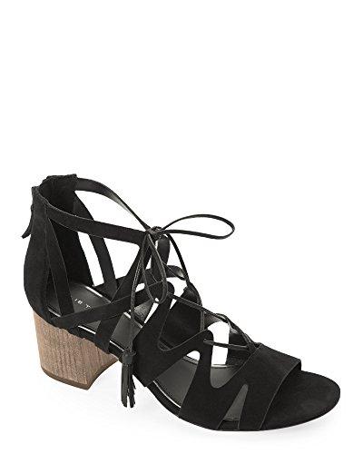Elie Tahari Burano Tasseled Black Suede Sandals (39.5)