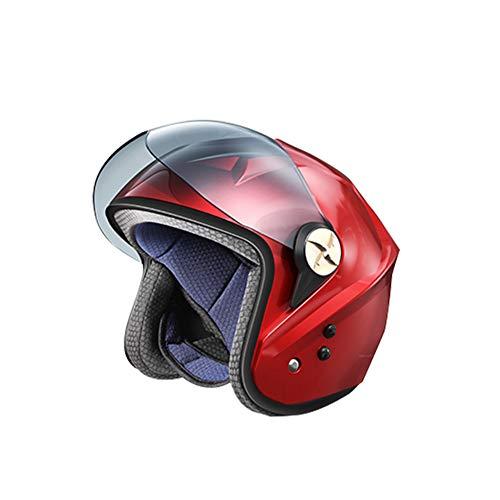 kaakaeu Casco con Ventilador, Energía Solar Smart Bluetooth Summer Cooling Ventilador Ciclismo Casco De Motocicleta Cap Rojo