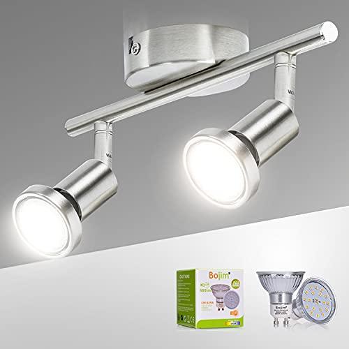 Bojim Lámpara de Techo LED 2 Focos, Focos LED Interior Techo Giratorios y Orientables, para la Cocina, el Dormitorio y el Salón, Incluye 2 Bombillas LED GU10 (6W, 600lm, 4500K Blanco Natural)!