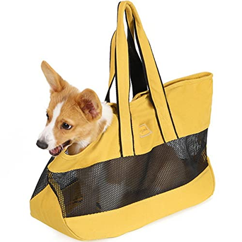 nikka(日華)犬猫 キャリーバッグ スクエア トートバッグ 軽量 丈夫 通気性抜群 肩掛け 折り畳む お出かけ 通院 イエロー