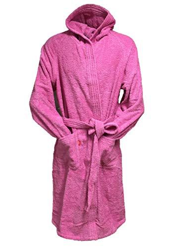 Vork badjas met capuchon en tailleband, 100% puur katoen, hydrofiel, 380 g/m2, gekleurd, machinewasbaar met milde zeep, niet geschikt voor de droger.
