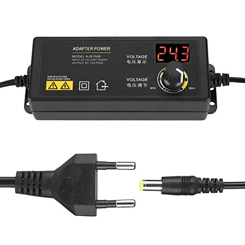 fasient1 3-36V Netzteil mit Einstellbarer Spannung 100V-240VAC Mehrstufiges Schutznetzteil mit LED-Anzeige für LCD-Monitor, LED-Lichtleiste, Motor, Gameplayer, Kamera usw.