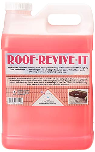 ROOF-REVIVE-IT, PHAB 4, Specially Formulated Organic Base, Roof Cleaner, Concentrate, (2) 2.5 Gallon Containers, Algae Remover, Mold Remover, Mildew Remover & Outdoor Cleaner. NON-ACIDIC, PET FRIENDLY