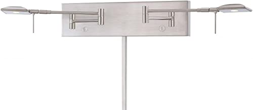 2021 George discount Kovacs P4329-084, Save Your Marriage, 2 popular Light LED Swing Arm Lamp, Brushed Nickel outlet online sale
