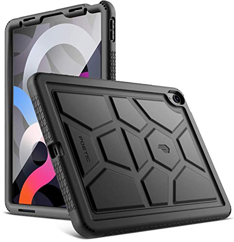 POETIC TurtleSkin Series Designed for iPad Air 4 2020 10.9 inch Case, Heavy Duty Shockproof Kids Friendly Silicone Case Cover, Black