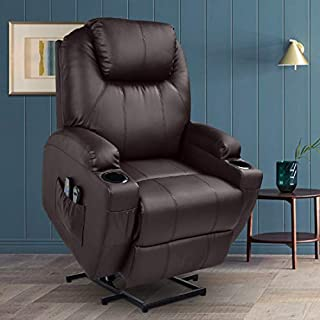MAGIC UNION Power Lift Massage Recliner Faux leather Heated Vibration with Remote Controls Wheels for Elderly Catnap Sofa- Brown