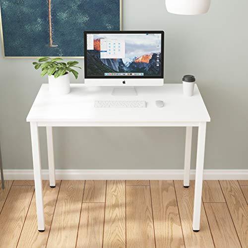 sogesfurniture BHEU-LD-AC100WT biurko komputerowe, 100 x 60 cm, stół roboczy stół do jadalni z drewna i stali, łatwy montaż, kolor biały