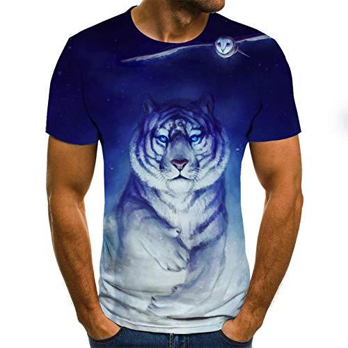 YNYEZBH White Tiger 3DT Shirt Kurzarm Herrenmode Slim Top Sommersport Round Neck Schnelltrocknendes Shirt