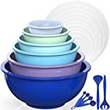 Mixing Bowls with Airtight Lids, Umite Chef 18 Piece Plastic Nesting Serving Bowls with Lids, Includes Salad spoon & Measuring Cups, Microwave Safe Mixing Bowl Set for Mixing, Baking, Serving (Blue)