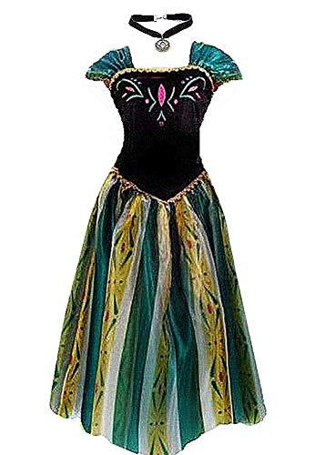 kuisen Damen prinzessin kostüm erwachsene anna elsa krönungskleid-kostüm xl größe gepasst für das us 12-14 grün
