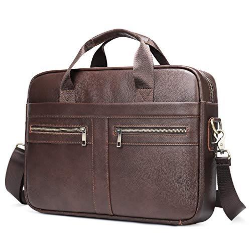 BAIGIO Laptoptasche Herren Leder Aktentasche, Vintage Ledertasche Businesstasche für bis 14 Zoll Laptop, Klassische Echt-Leder Schultertasche Arbeitstasche Messenger Tasche, Braun