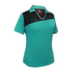 Algiers Blue/Black Rhinestones Contrast Polo Shirt #2094