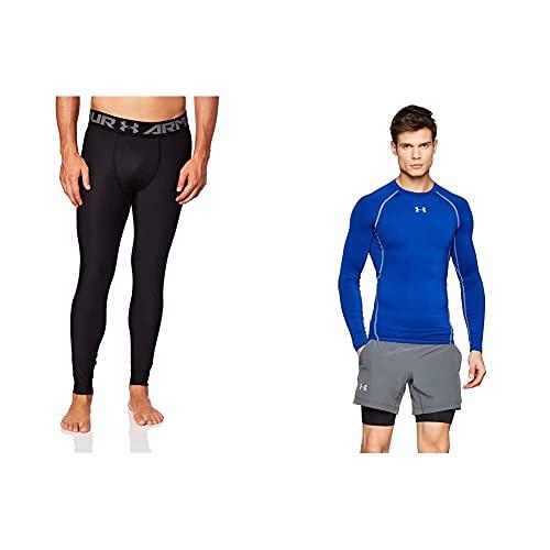 Under Armour Heatgear 2.0 Leggings, Hombre, Negro + UA Heatgear Long Sleeve Camiseta De Manga Larga, Hombre, Azul