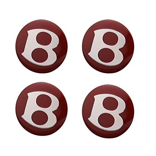 tieoqioan Auto Parts 4pcs 56 MM Wheel Center Sticker Cover Buje de Rueda para Bentley Red, Etiqueta de modificación de Coche