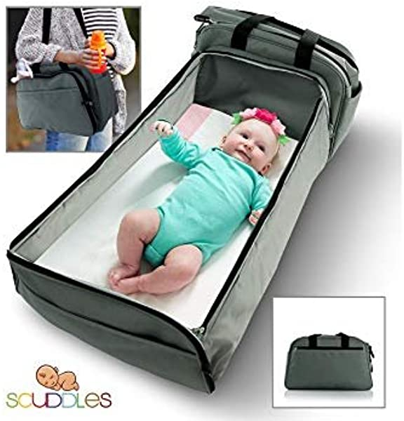 Scuddles 3 1 Portable Bassinet For Baby Foldable Baby Bed Travel Bassinet Functions As Diaper Bag And Changing Station Easy Folding For Travel