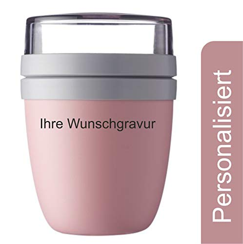 Laser Tattoo Lunch Pot Ellipse 500ml - Personalisiert mit Gravur (Nordic Pink)