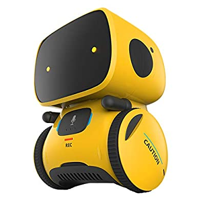 YINGTESI STEM Smart Robot Toys,Education Interactive Toys with Voice Command,Touch Control,Music and Sound Robotics,Voice Record and Repeat,Gifts for Boys and Girls Age 3 4 5 6 (Yellow) by Yingtesi