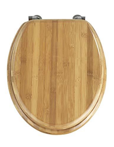 WENKO Tapa de WC Bambus - sujeción de acero inoxidable, Bambú, 34 x 41 cm, Marrón oscuro