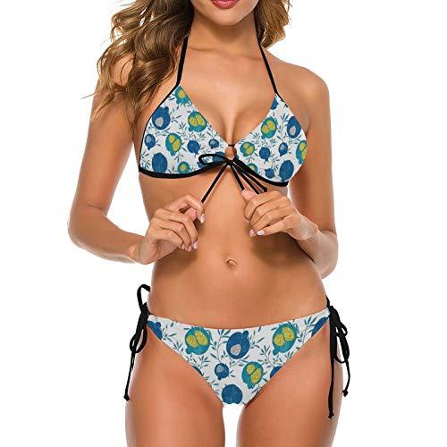Bikini traje de baño para las mujeres azul frutas verde dos piezas traje de baño esposa Halter parte inferior luna de miel V-cuello ropa de baño
