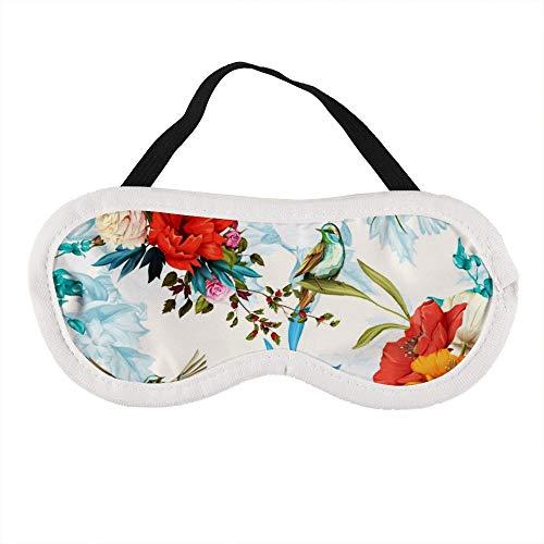 Bloesem Rose nachtegaal vogels met bladeren aquarel hand getrokken slaap oog masker slapende maskers blinddoek katoen oog kussen zacht voor vrouwen mannen reizen Naps gepersonaliseerd