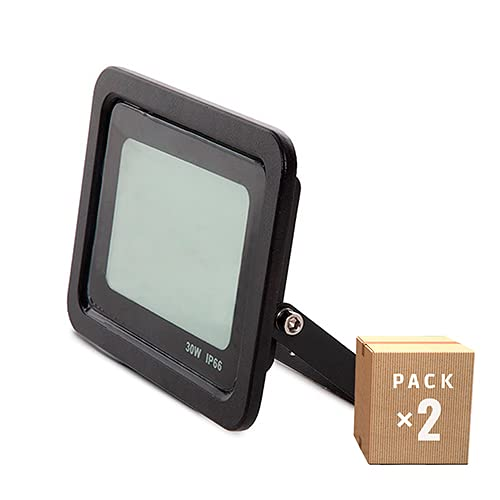 Greenice | Pack x2 Foco Proyector LED SMD IP66 30W 2700Lm 30.000H | Blanco Natural