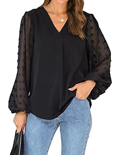 Blooming Jelly Womens Black Blouse V Neck Lantern Sleeve Chiffon Swiss Dot Business Casual Tops Shirts(XL,Black)