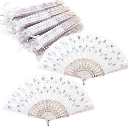 Nsiwem ventaglio di pizzo 10 Pezzi Pieghevole Fan portatili Ventaglio pieghevole in pizzo Ventaglio a Forma di Fiore per Matrimoni(Bianco) con 10 pezzi sacchetto di organza