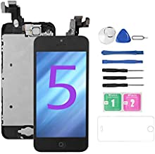 for iPhone 5 Screen Replacement [Black],Bsz4uov Full LCD Display Touch Glass Screen Digitizer Replacement Kit with Home Button and Front Camera for A1428/A1429/A1442, Repair Tool