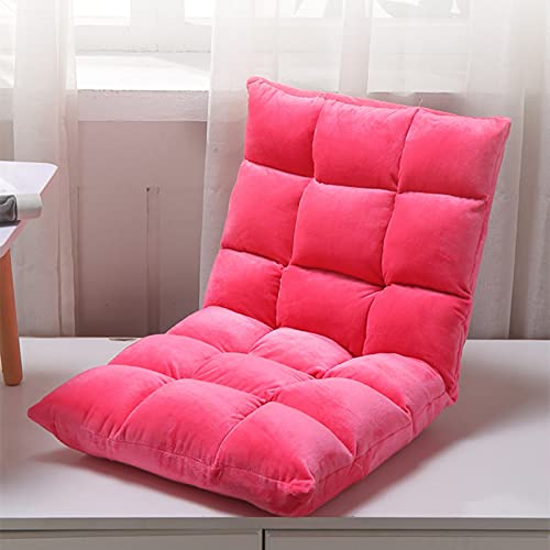 Elegante Sofa Plegable de Suelo Multi-ángulo,Silla de Suelo Acolchada Regulable con Respaldo para el Hogar y la Oficina,Sillon Relax para Meditación o Gaming(Rosa 2)