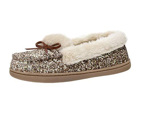 Cushionaire Women's Sierra Moccasin Slipper +Memory Foam , GOLD GLITTER 8