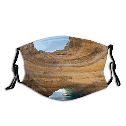 Comfortable Activated Carbon mask,Sea Cave Of Benagil In Algarve Portugal Idyllic Sandy Rocky Landscape,Printed Facial decorations for adult