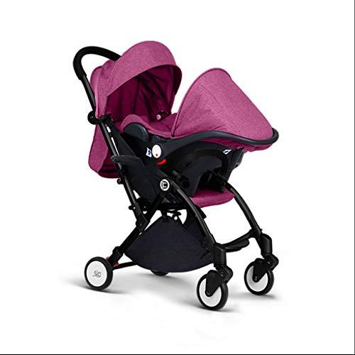 Carrito de bebe Compacto tres-en-uno Bebé Paisaje Coche, Tipo de cesta Asiento de seguridad para niños cochecito plegable Coche Cochecito/Silla Paseo (Color : Pink)
