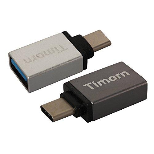 Timorn Hoch -Geschwindigkeit Aluminium Typ C 3.1 USB 3.0 Buchse Adapter mit OTG und Datenübertragung für Apple 12-Zoll-Retina MacBook, Google Chromebook Pixel, ZUK Z1, Mi 4C Nokia N1, Google Nexus5x Nexus6P, Microsoft Lumia950 Lumia950XL usw. (2pcs Silber + Eisengrau)