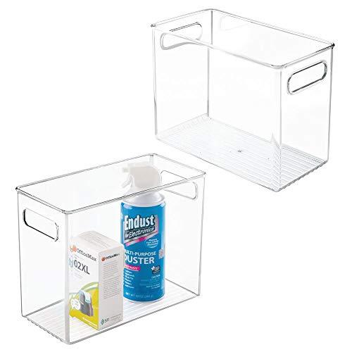 mDesign Juego de 2 cajas de almacenaje con asas integradas – Cajas organizadoras para material de escritorio y útiles de oficina – Organizador de escritorio en plástico – transparente